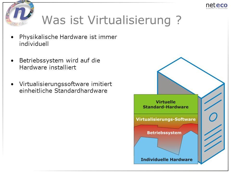 Was ist Virtualisierung ? Physikalische Hardware ist immer individuell Betriebssystem wird auf die Hardware installiert Virtualisierungssoftware imiti