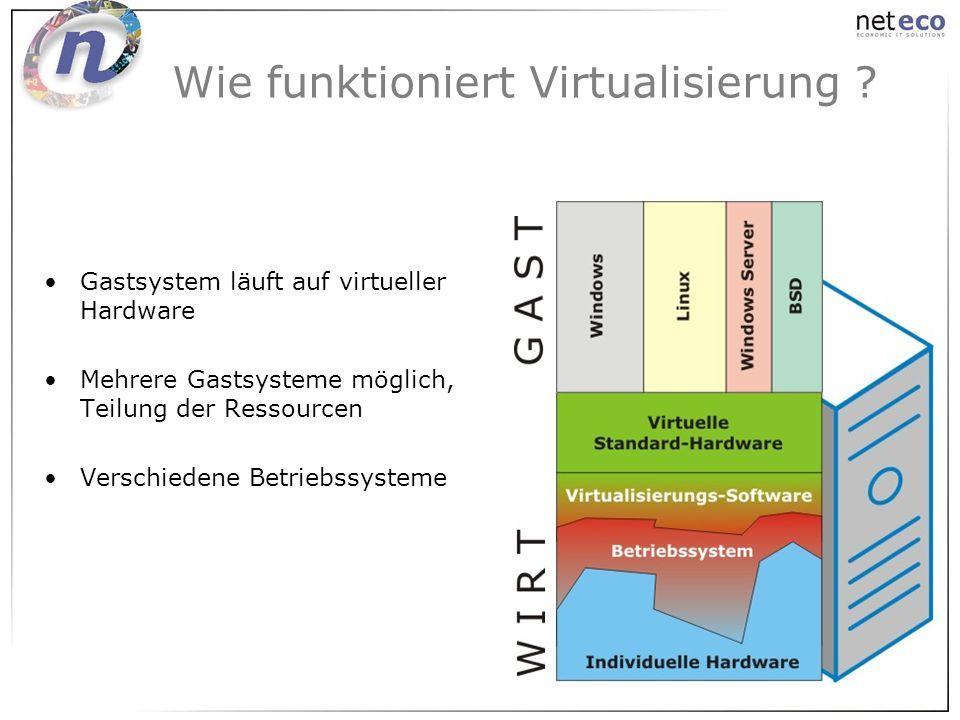 Wie funktioniert Virtualisierung ? Gastsystem läuft auf virtueller Hardware Mehrere Gastsysteme möglich, Teilung der Ressourcen Verschiedene Betriebss