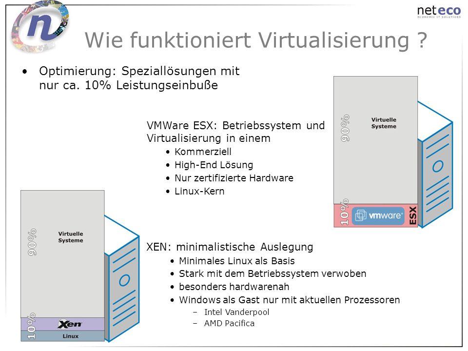 Optimierung: Speziallösungen mit nur ca. 10% Leistungseinbuße Wie funktioniert Virtualisierung ? XEN: minimalistische Auslegung Minimales Linux als Ba
