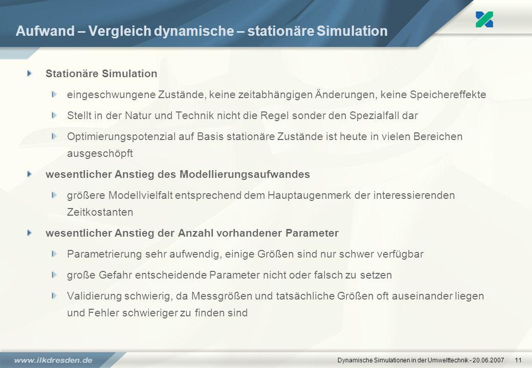 Dynamische Simulationen in der Umwelttechnik - 20.06.200711 Aufwand – Vergleich dynamische – stationäre Simulation Stationäre Simulation eingeschwunge