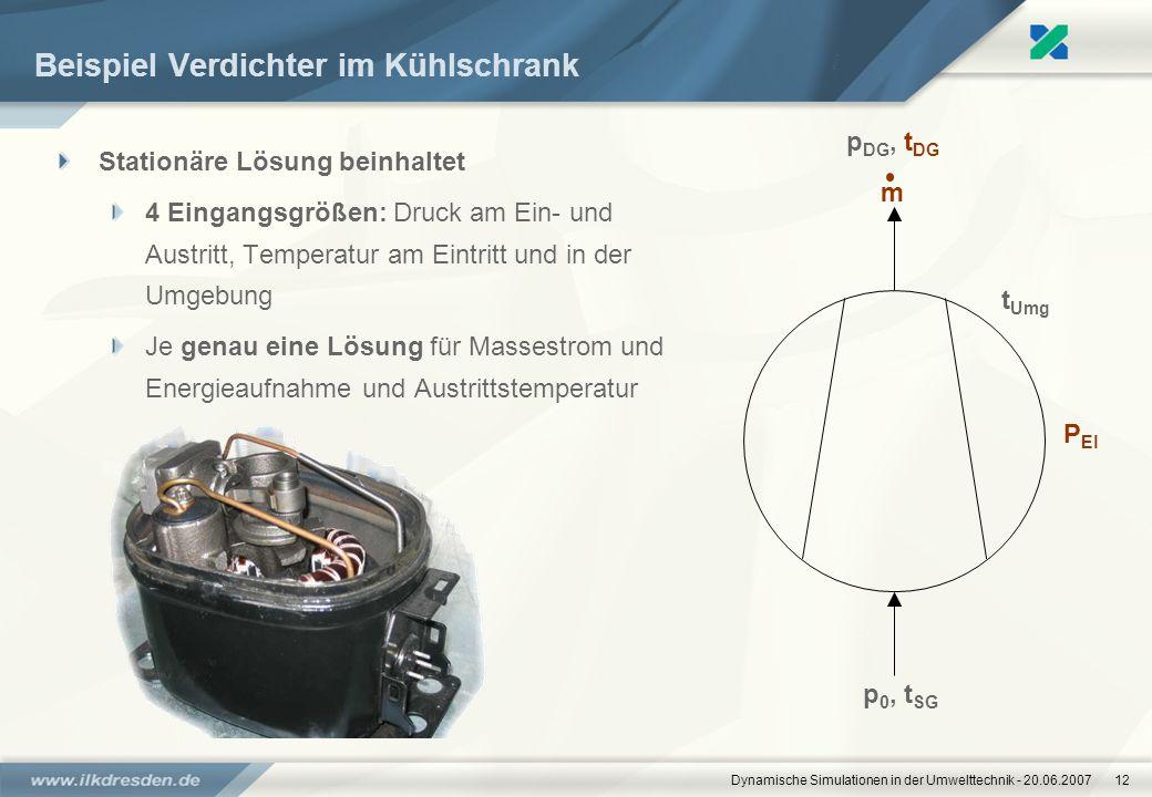 Dynamische Simulationen in der Umwelttechnik - 20.06.200712 Beispiel Verdichter im Kühlschrank Stationäre Lösung beinhaltet 4 Eingangsgrößen: Druck am