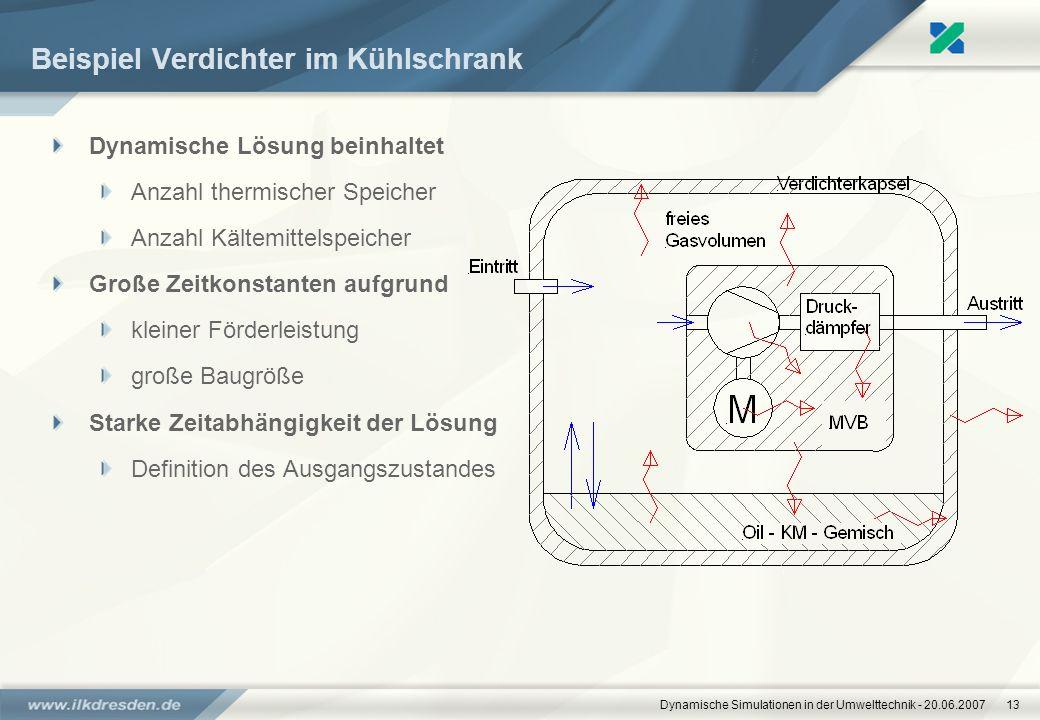 Dynamische Simulationen in der Umwelttechnik - 20.06.200713 Beispiel Verdichter im Kühlschrank Dynamische Lösung beinhaltet Anzahl thermischer Speiche