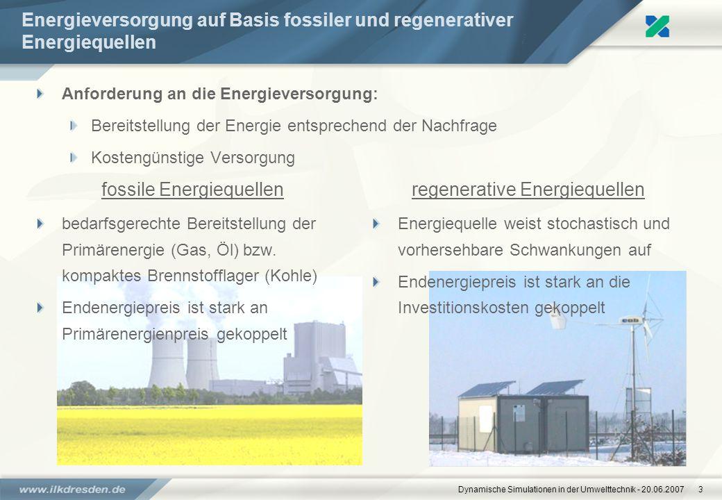 Dynamische Simulationen in der Umwelttechnik - 20.06.20073 Energieversorgung auf Basis fossiler und regenerativer Energiequellen fossile Energiequelle
