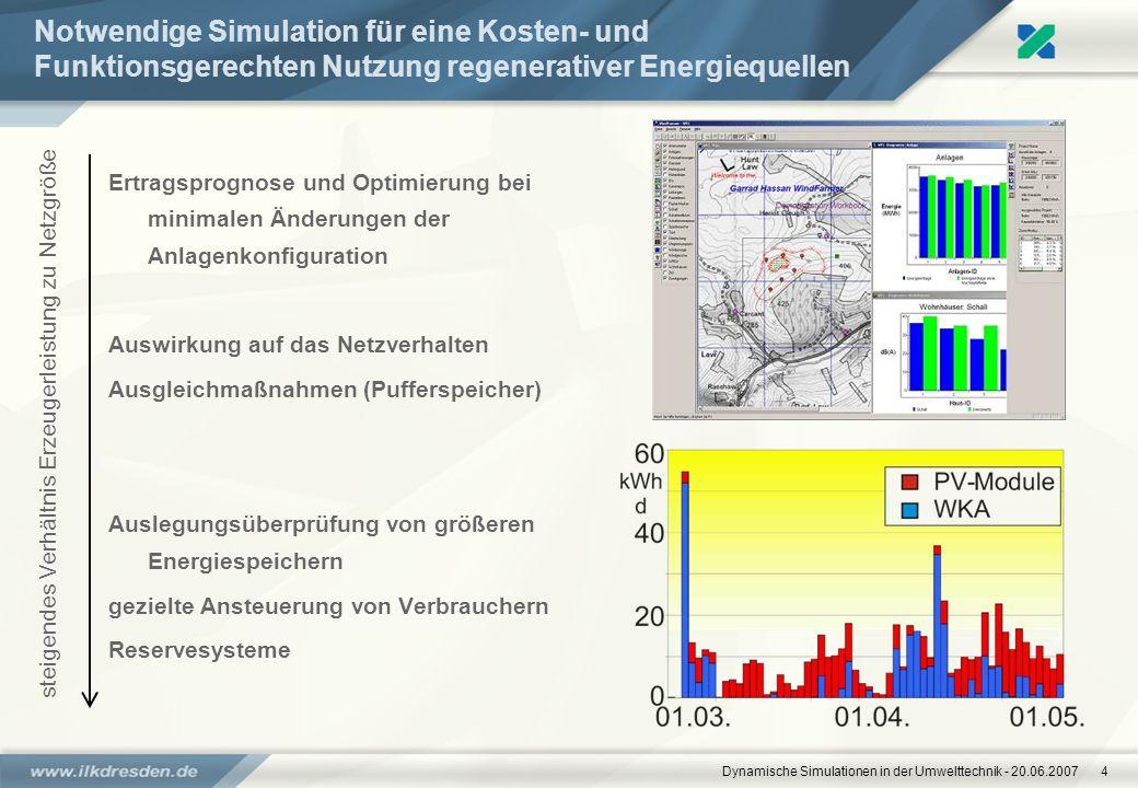 Dynamische Simulationen in der Umwelttechnik - 20.06.20074 Notwendige Simulation für eine Kosten- und Funktionsgerechten Nutzung regenerativer Energie