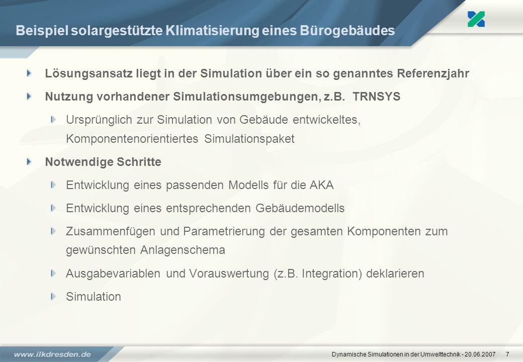 Dynamische Simulationen in der Umwelttechnik - 20.06.20077 Beispiel solargestützte Klimatisierung eines Bürogebäudes Lösungsansatz liegt in der Simula