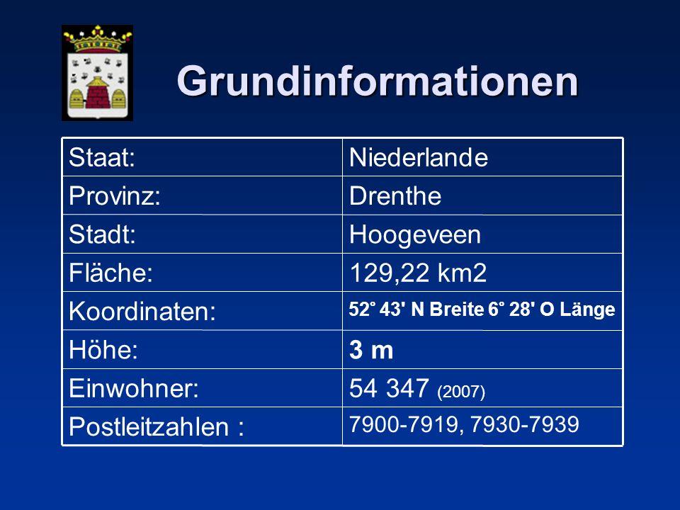 Grundinformationen 7900-7919, 7930-7939 Postleitzahlen : 54 347 (2007) Einwohner: 3 mHöhe: 52° 43 N Breite 6° 28 O Länge Koordinaten: 129,22 km2Fläche: HoogeveenStadt: DrentheProvinz: NiederlandeStaat: