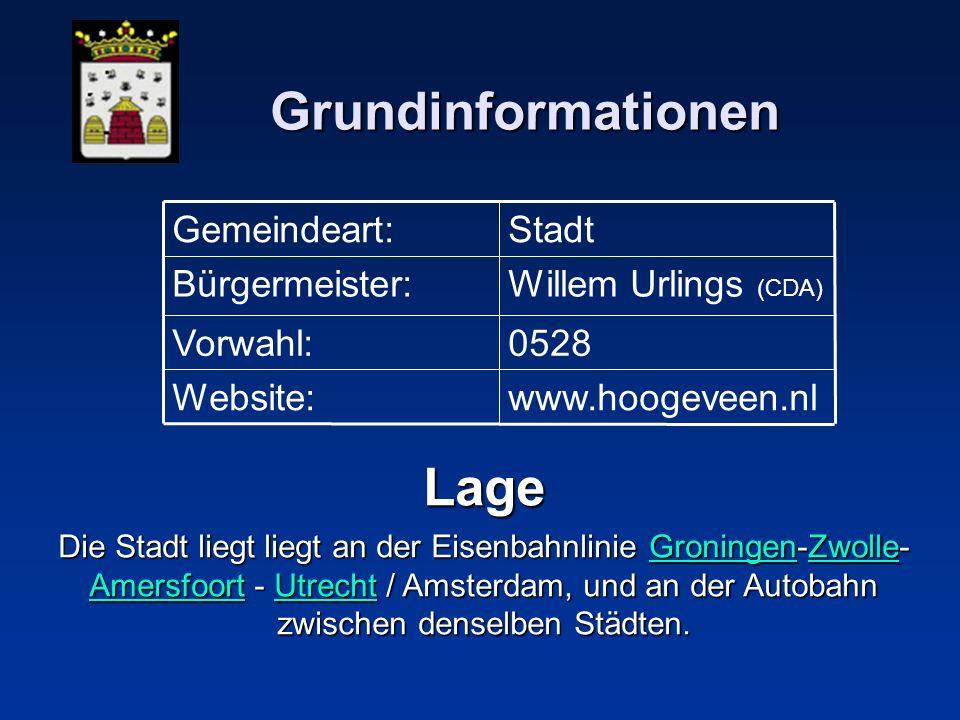 Grundinformationen Lage Die Stadt liegt liegt an der Eisenbahnlinie Groningen-Zwolle- Amersfoort - Utrecht / Amsterdam, und an der Autobahn zwischen d