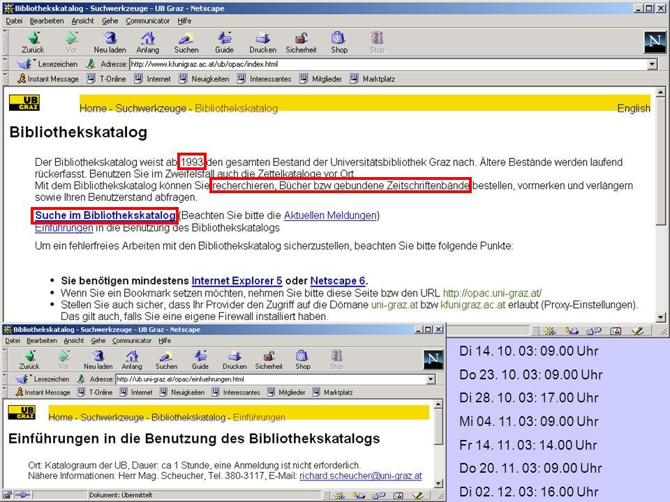 Web of Science Vorteile: unterschiedliche Suchmöglichkeiten (auch komplexer Art), Suchprofile abspeichern, Dokumente speichern/drucken/mailen (wenn UB eine Lizenz besitzt, kann sogar der Volltext entweder als html- oder als pdf-Format genutzt werden Nachteil:Die Referenzen eines Artikels enthalten keinen Titel der Publikation Wenn keine Lizenz vorhanden ist nur der Abstract verfügbar