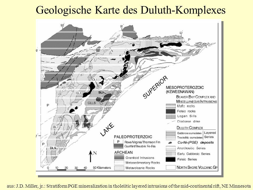 Geologische Karte des Duluth-Komplexes aus: J.D. Miller, jr.: Stratiform PGE mineralization in tholeiitic layered intrusions of the mid-continental ri