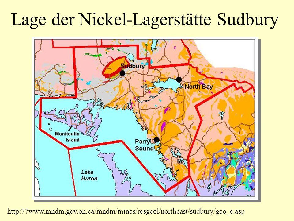 Lage der Nickel-Lagerstätte Sudbury http:77www.mndm.gov.on.ca/mndm/mines/resgeol/northeast/sudbury/geo_e.asp