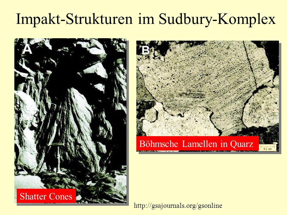 Impakt-Strukturen im Sudbury-Komplex Shatter Cones Böhmsche Lamellen in Quarz http://gsajournals.org/gsonline