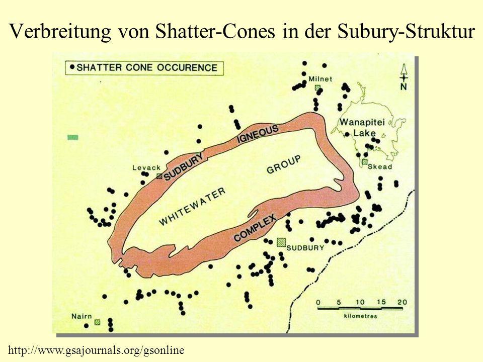 Verbreitung von Shatter-Cones in der Subury-Struktur http://www.gsajournals.org/gsonline