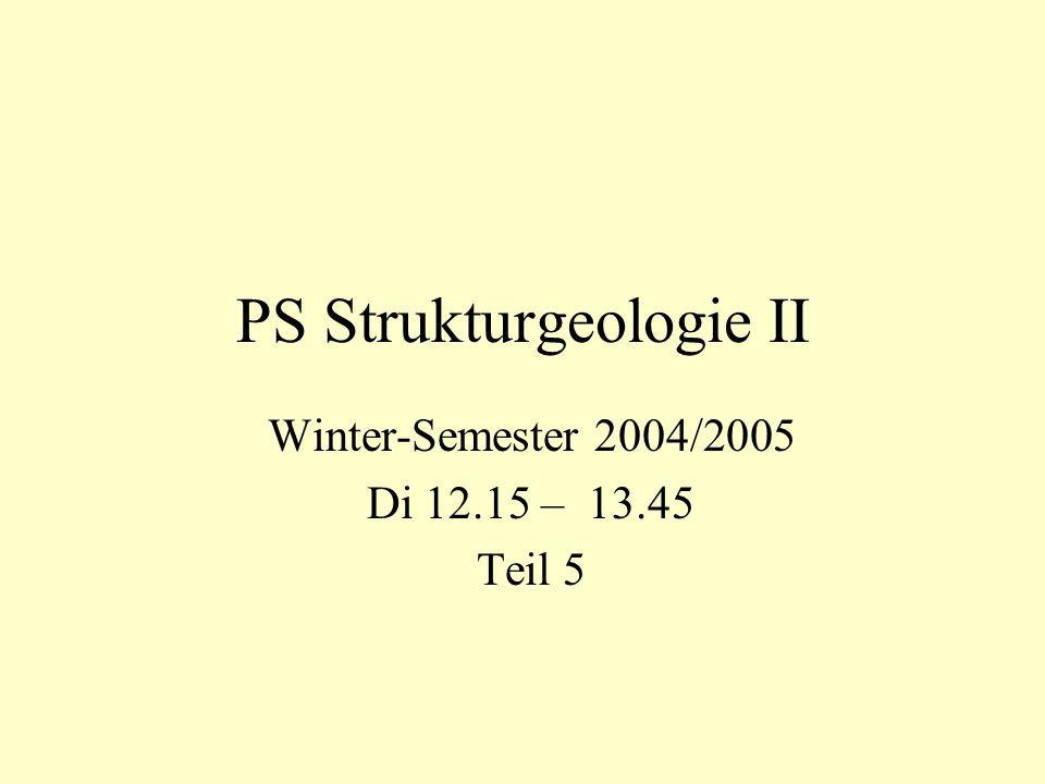 PS Strukturgeologie II Winter-Semester 2004/2005 Di 12.15 – 13.45 Teil 5