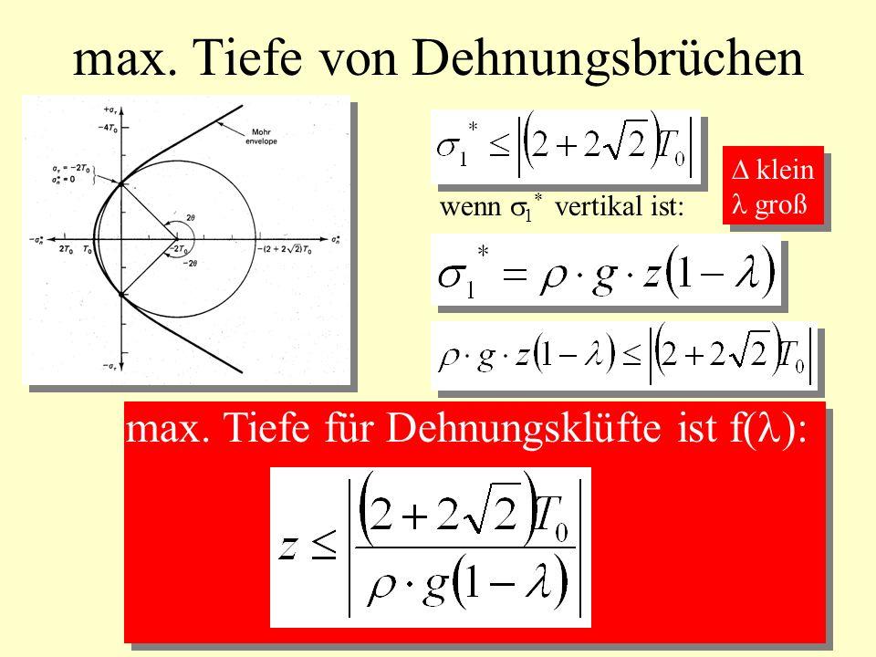max. Tiefe von Dehnungsbrüchen max. Tiefe für Dehnungsklüfte ist f( ): wenn 1 * vertikal ist: klein groß klein groß