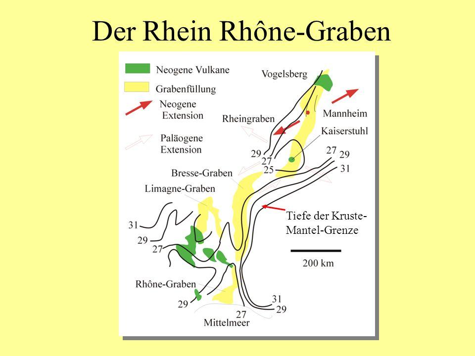 Der Rhein Rhône-Graben Tiefe der Kruste- Mantel-Grenze