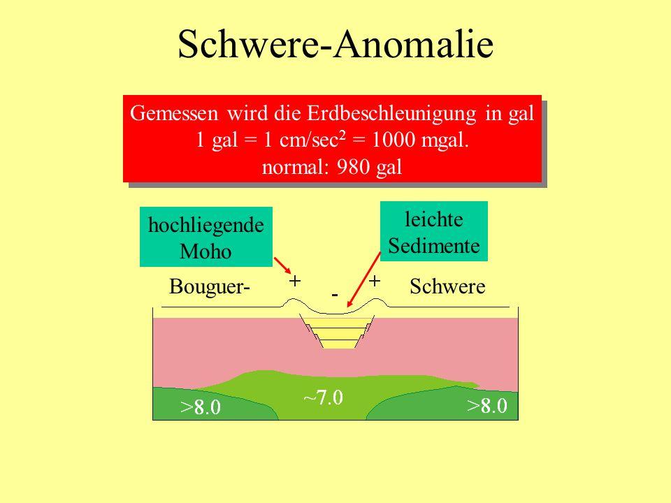 Schwere-Anomalie Gemessen wird die Erdbeschleunigung in gal 1 gal = 1 cm/sec 2 = 1000 mgal. normal: 980 gal Gemessen wird die Erdbeschleunigung in gal