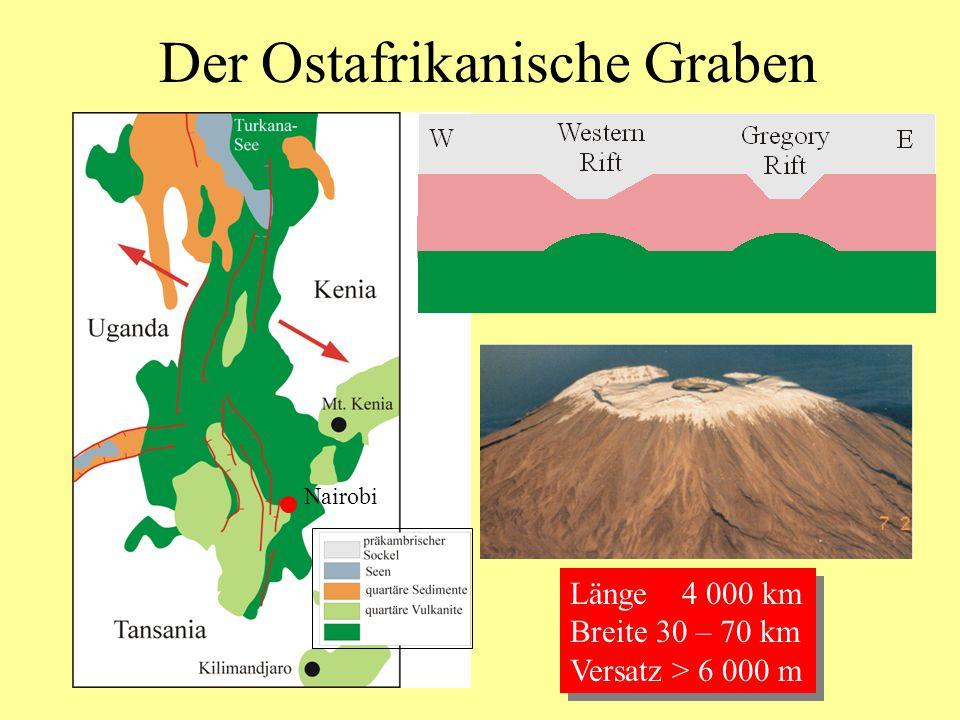 Der Ostafrikanische Graben Nairobi Länge 4 000 km Breite 30 – 70 km Versatz > 6 000 m Länge 4 000 km Breite 30 – 70 km Versatz > 6 000 m