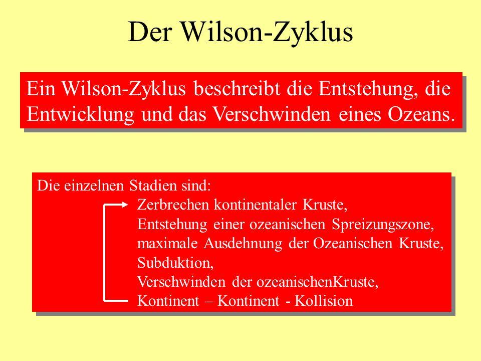 Der Wilson-Zyklus Ein Wilson-Zyklus beschreibt die Entstehung, die Entwicklung und das Verschwinden eines Ozeans. Ein Wilson-Zyklus beschreibt die Ent