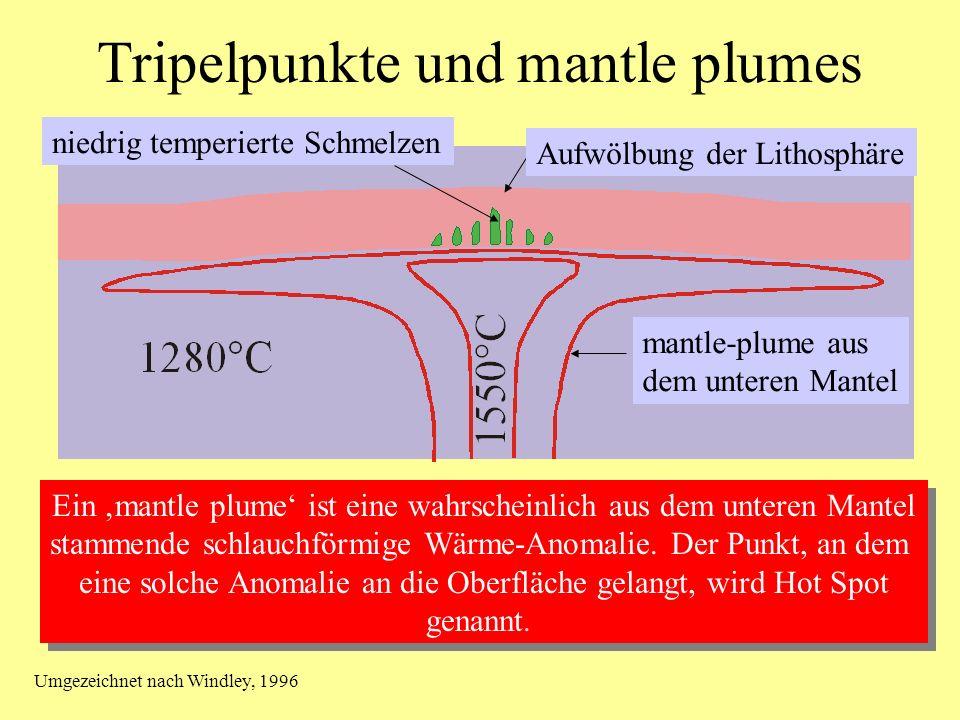 Tripelpunkte und mantle plumes mantle-plume aus dem unteren Mantel Aufwölbung der Lithosphäre niedrig temperierte Schmelzen Ein mantle plume ist eine