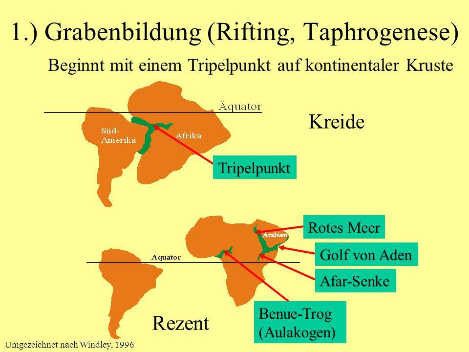 1.) Grabenbildung (Rifting, Taphrogenese) Beginnt mit einem Tripelpunkt auf kontinentaler Kruste Kreide Rezent Tripelpunkt Benue-Trog (Aulakogen) Rote