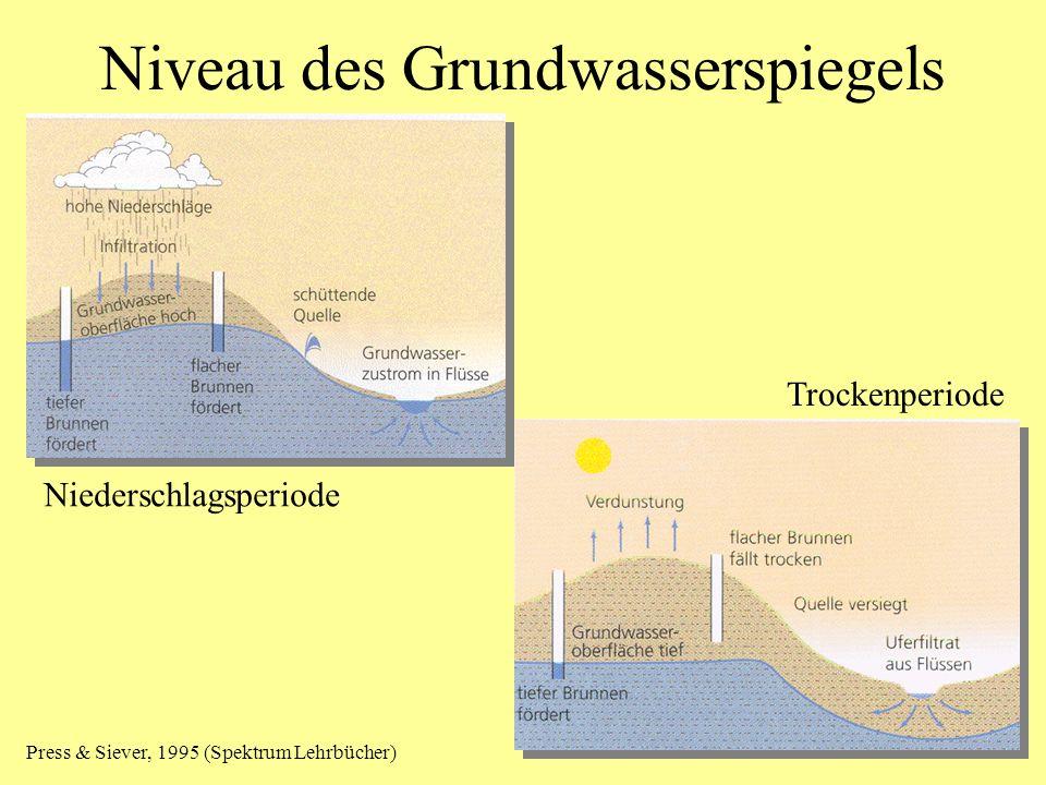 Niveau des Grundwasserspiegels Niederschlagsperiode Trockenperiode Press & Siever, 1995 (Spektrum Lehrbücher)