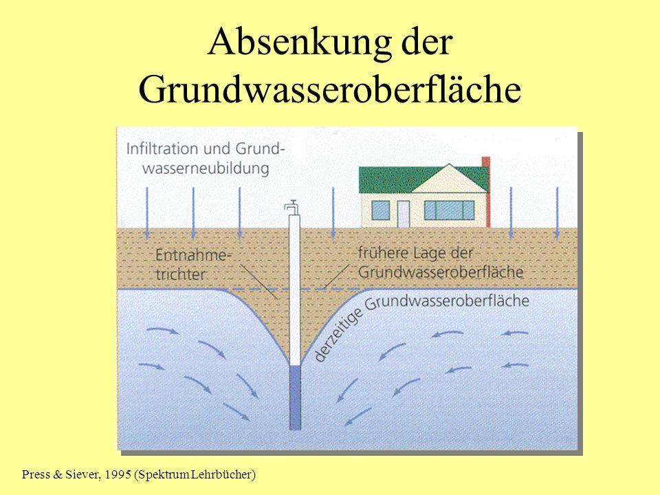 Absenkung der Grundwasseroberfläche Press & Siever, 1995 (Spektrum Lehrbücher)
