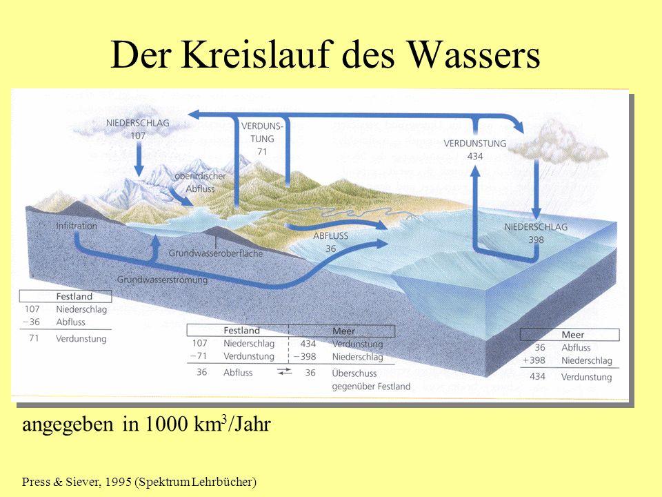 Der Kreislauf des Wassers angegeben in 1000 km 3 /Jahr Press & Siever, 1995 (Spektrum Lehrbücher)