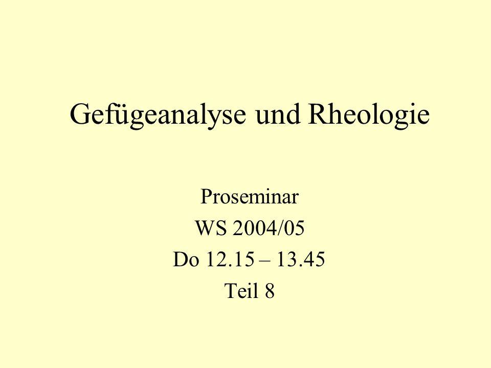 Gefügeanalyse und Rheologie Proseminar WS 2004/05 Do 12.15 – 13.45 Teil 8