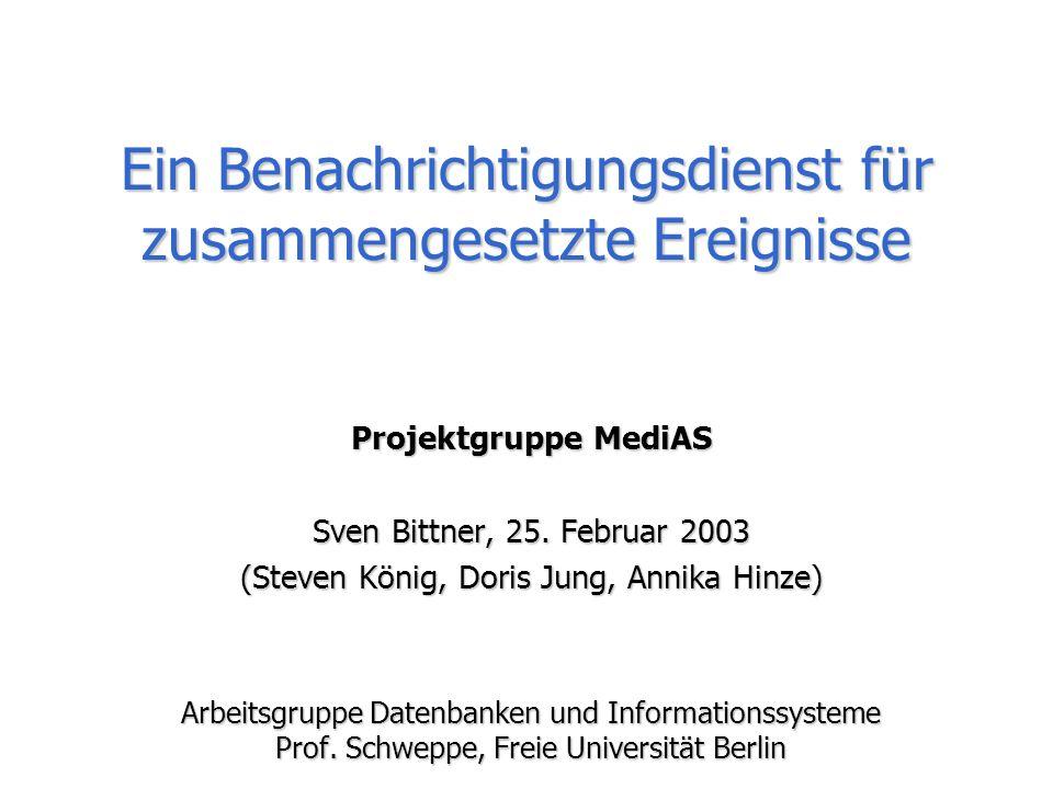 Sven Bittner, Steven König - Ein Benachrichtigungsdienst für zusammengesetzte Ereignisse 2/15 Einführung (1) Benach-richtigungs-dienst(BD) e 2 : t=30°C e 3 : r=0,2 liter e 4 : r=2 liter e 1 : t=15°C Ereignisse Filterung Effiziente, skalier- bare Filterung Benachrich-tigungen (e 2 ) (e 2 ) (e 1 ) (e 3 ), (e 4 ) (e 3 ), (e 4 ) Profile Abonnenten P 1 =(t>22°C) P 2 =(t<18°C) P 3 =(r>0,1 lit.) Anbieter(Sensoren) Gebäudesteuerung (mittleres Gebäude) >10 4 Profile >10 4 Profile >10 3 Ereignisse/Sekunde >10 3 Ereignisse/Sekunde