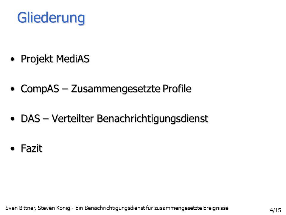 Sven Bittner, Steven König - Ein Benachrichtigungsdienst für zusammengesetzte Ereignisse 15/15 Literatur [1] Sven Bittner: Implementierung eines effizienten Matchingverfahrens für Benachrichtigungssysteme.