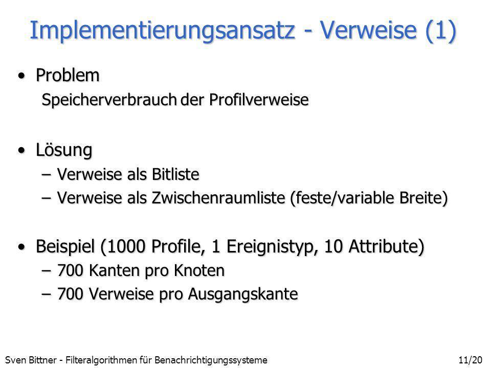 Sven Bittner - Filteralgorithmen für Benachrichtigungssysteme11/20 Implementierungsansatz - Verweise (1) ProblemProblem Speicherverbrauch der Profilve