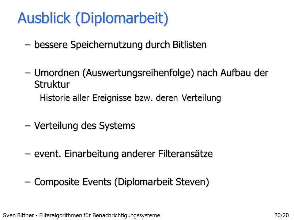 Sven Bittner - Filteralgorithmen für Benachrichtigungssysteme20/20 Ausblick (Diplomarbeit) –bessere Speichernutzung durch Bitlisten –Umordnen (Auswert