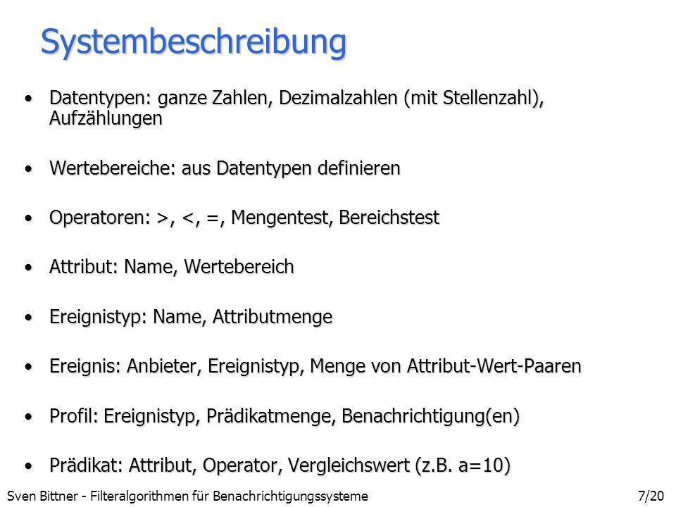 Sven Bittner - Filteralgorithmen für Benachrichtigungssysteme8/20 Implementierung Sprache: JavaSprache: Java Standarddatentypen und Felder statt Containerklassen der BibliothekenStandarddatentypen und Felder statt Containerklassen der Bibliotheken Option: Native-Language-Code (C++) bei Performanceproblemen (JNI)Option: Native-Language-Code (C++) bei Performanceproblemen (JNI) relationale Datenbank für Speicherung persistenter Datenrelationale Datenbank für Speicherung persistenter Daten
