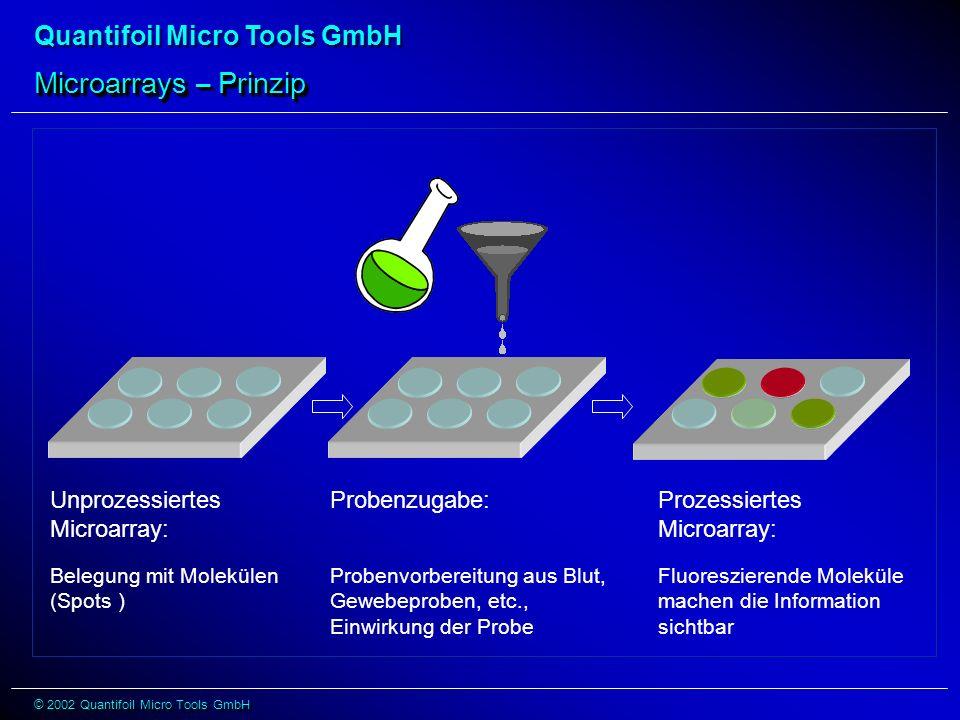 Quantifoil Micro Tools GmbH © 2002 Quantifoil Micro Tools GmbH Microarrays – Prinzip Prozessiertes Microarray: Fluoreszierende Moleküle machen die Information sichtbar Probenzugabe: Probenvorbereitung aus Blut, Gewebeproben, etc., Einwirkung der Probe Unprozessiertes Microarray: Belegung mit Molekülen (Spots )