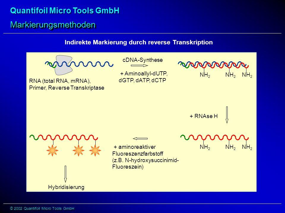 Quantifoil Micro Tools GmbH © 2002 Quantifoil Micro Tools GmbH Direkte chemische Markierung der Nukleinsäure Pt Beispiel: Reaktion eines fluoreszenzmarkierten Platin-Komplexes mit N7 von Guanin Nukleinsäure (DNA) (modifiziert auch für das Markieren von Proteinen anwendbar) MarkierungsmethodenMarkierungsmethoden