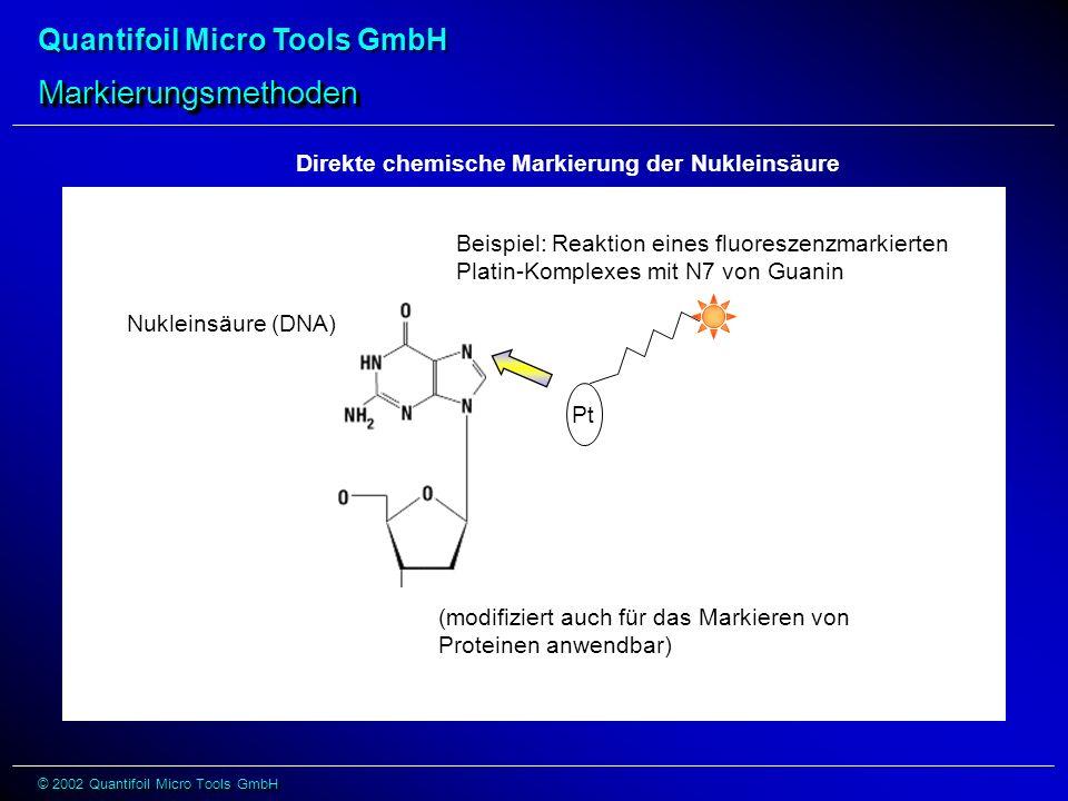 Quantifoil Micro Tools GmbH © 2002 Quantifoil Micro Tools GmbH Direkte chemische Markierung der Nukleinsäure Pt Beispiel: Reaktion eines fluoreszenzma