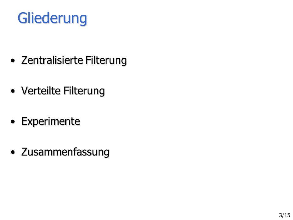 Sven Bittner - Effiziente Filterung in zentralisierten und verteilten Benachrichtigungssystemen 3/15 Gliederung Zentralisierte FilterungZentralisierte Filterung Verteilte FilterungVerteilte Filterung ExperimenteExperimente ZusammenfassungZusammenfassung