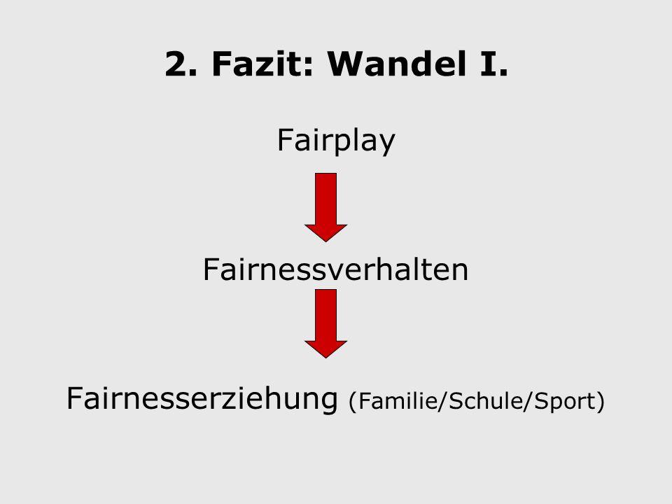 2. Fazit: Wandel I. Fairplay Fairnessverhalten Fairnesserziehung (Familie/Schule/Sport)