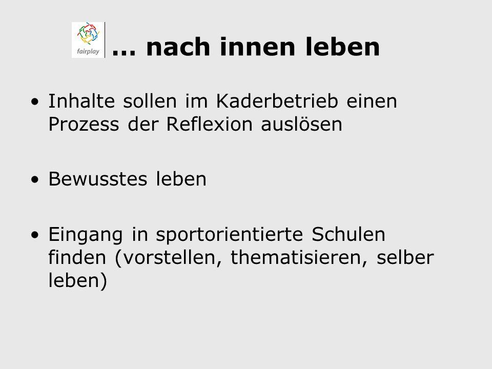 … nach innen leben Inhalte sollen im Kaderbetrieb einen Prozess der Reflexion auslösen Bewusstes leben Eingang in sportorientierte Schulen finden (vorstellen, thematisieren, selber leben)