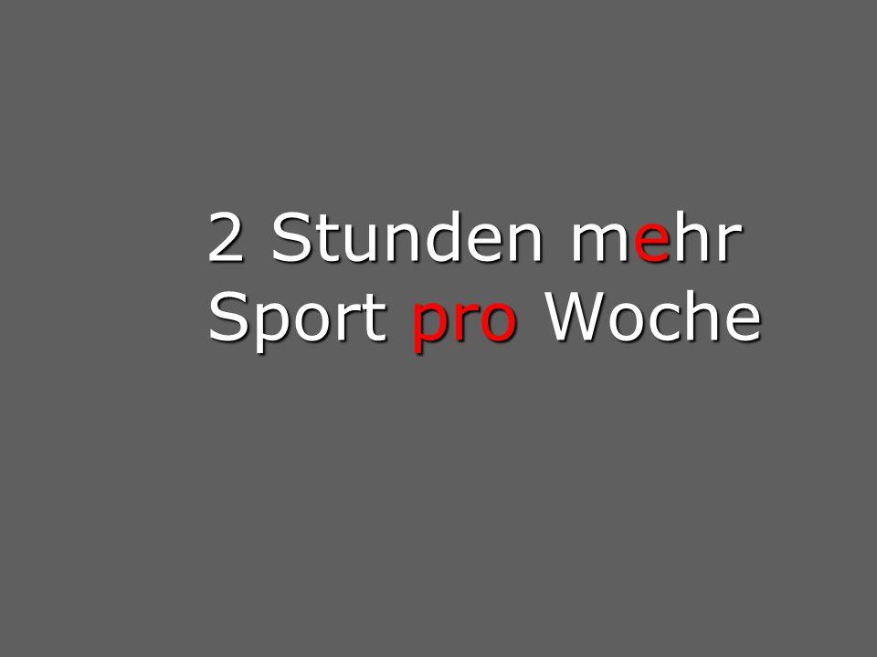2 Stunden mehr Sport pro Woche 2 Stunden mehr Sport pro Woche
