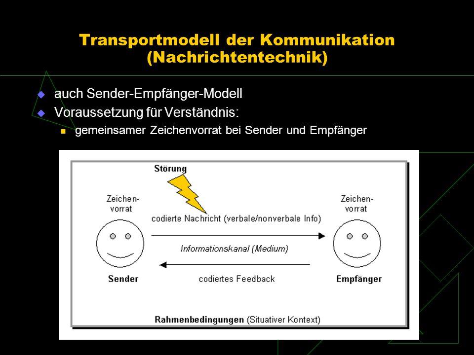 Kommunikationsmodelle Transportmodell (Nachrichtentechnik) Rückkopplungsmodell Handlungsmodell