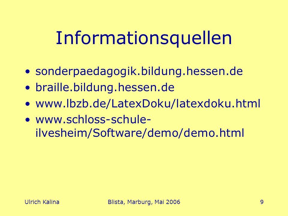 Ulrich KalinaBlista, Marburg, Mai 200610 Ende