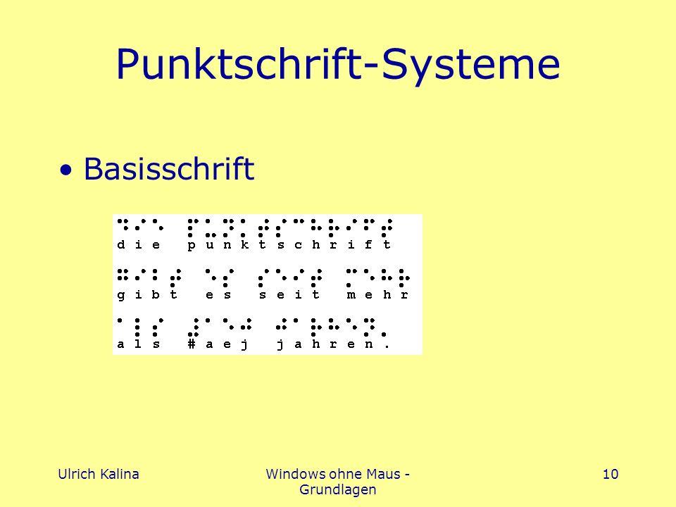 Ulrich KalinaWindows ohne Maus - Grundlagen 10 Punktschrift-Systeme Basisschrift