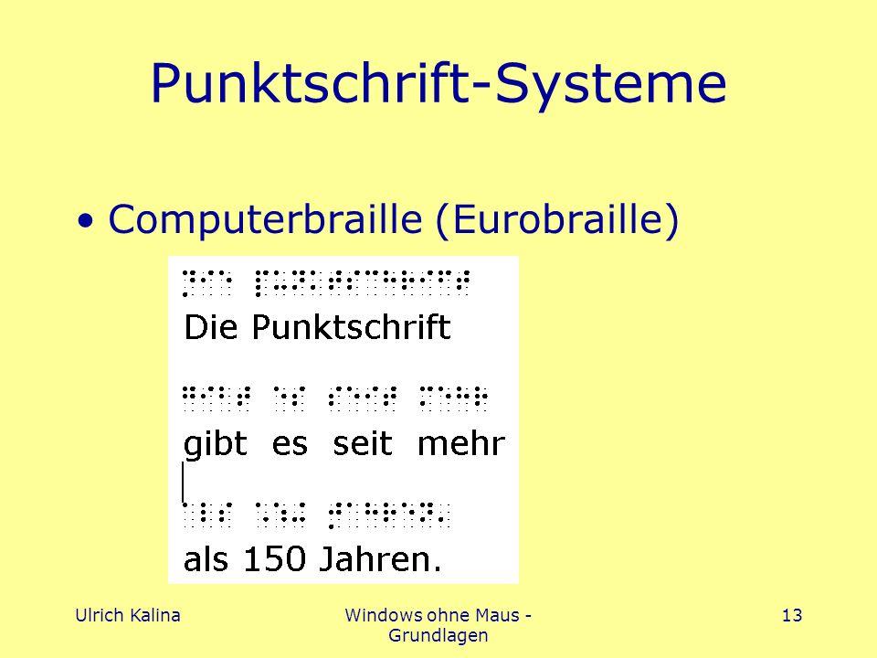 Ulrich KalinaWindows ohne Maus - Grundlagen 13 Punktschrift-Systeme Computerbraille (Eurobraille)