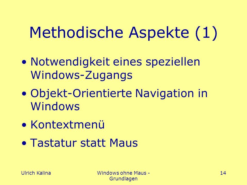 Ulrich KalinaWindows ohne Maus - Grundlagen 14 Methodische Aspekte (1) Notwendigkeit eines speziellen Windows-Zugangs Objekt-Orientierte Navigation in Windows Kontextmenü Tastatur statt Maus