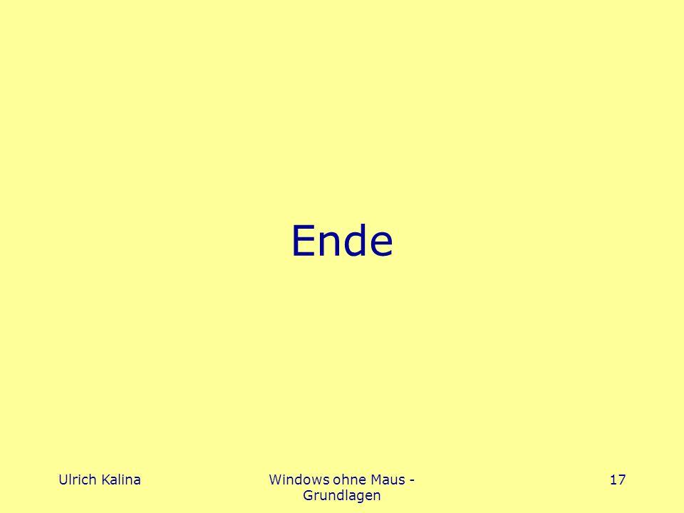 Ulrich KalinaWindows ohne Maus - Grundlagen 17 Ende