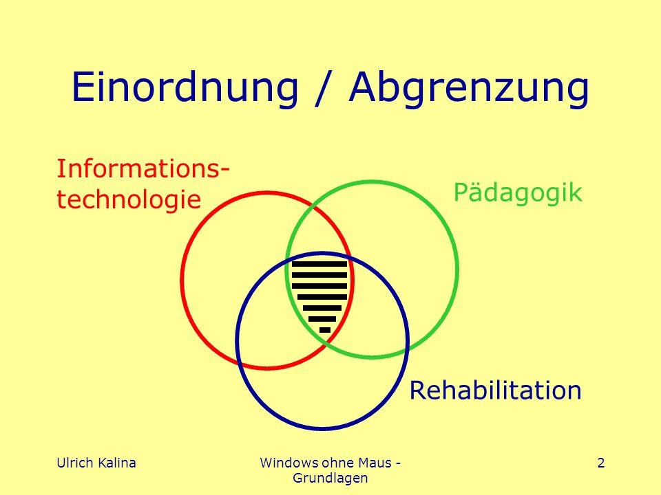Ulrich KalinaWindows ohne Maus - Grundlagen 2 Einordnung / Abgrenzung Pädagogik Rehabilitation Informations- technologie