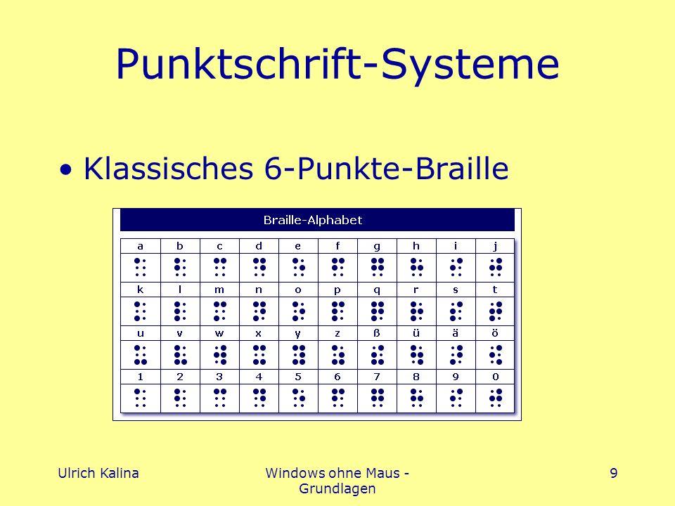 Ulrich KalinaWindows ohne Maus - Grundlagen 9 Punktschrift-Systeme Klassisches 6-Punkte-Braille