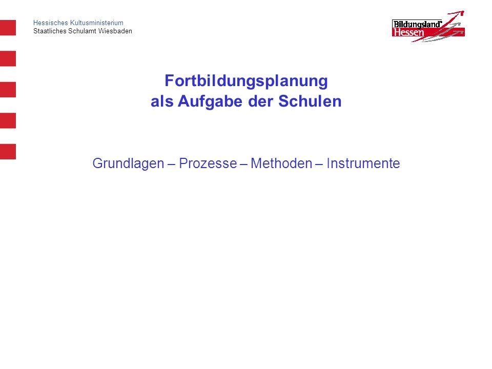 Hessisches Kultusministerium Staatliches Schulamt Wiesbaden Fortbildungsplanung als Aufgabe der Schulen Grundlagen – Prozesse – Methoden – Instrumente