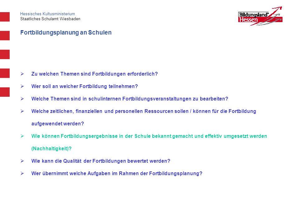 Hessisches Kultusministerium Staatliches Schulamt Wiesbaden Fortbildungsplanung an Schulen Zu welchen Themen sind Fortbildungen erforderlich? Wer soll